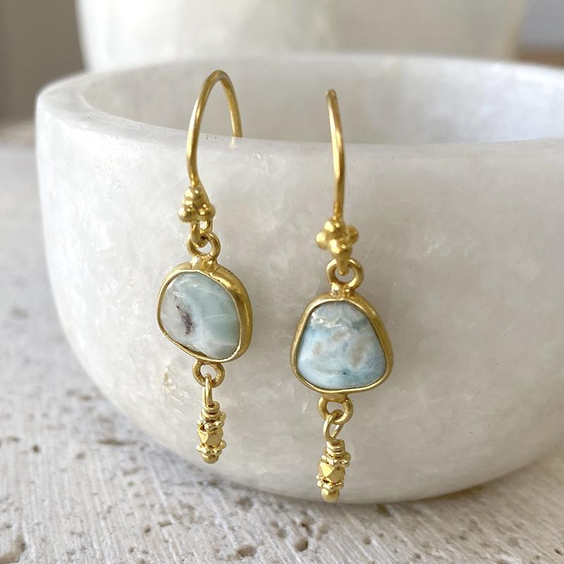 Golden Larimar Drop Earrings Earrings Robindira Unsworth