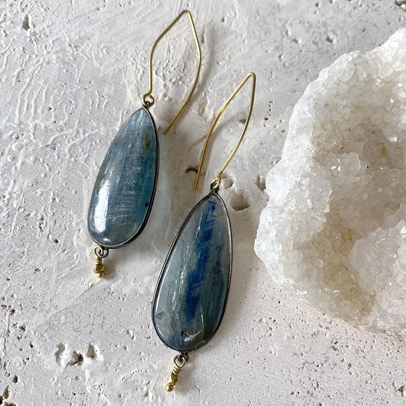 Kyanite Drop Earrings Earrings Robindira Unsworth