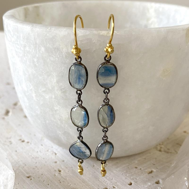 Kyanite Statement Long Earrings Earrings Robindira Unsworth