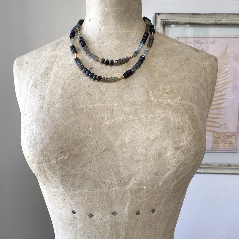 Labradorite Aquamarine Necklace Necklace Robindira Unsworth