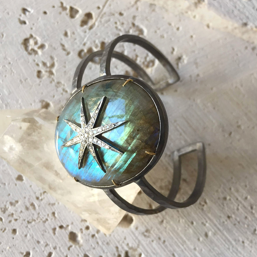 Labradorite Diamond Star Cuff Bangle Robindira Unsworth