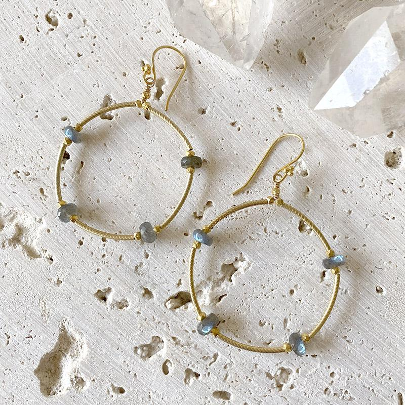 Labradorite Gold Hoop Earrings Earrings Robindira Unsworth