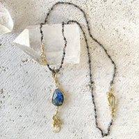 Labradorite Moon Drop Necklace Necklace Robindira Unsworth
