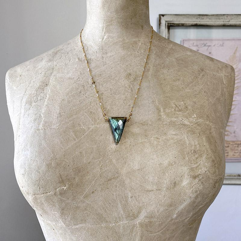 Labradorite Pyramid Necklace Necklace Robindira Unsworth