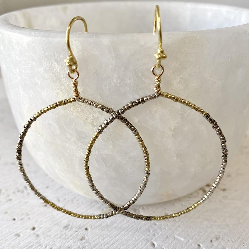 Mixed Metal Hoop Earrings Earrings Robindira Unsworth
