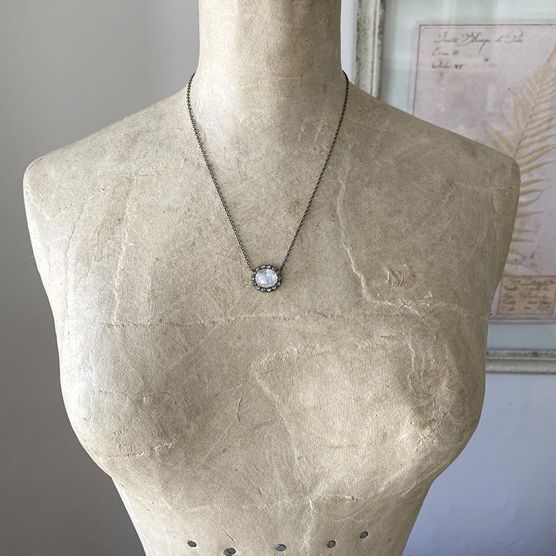 Moonstone And Diamond Necklace Necklace Robindira Unsworth