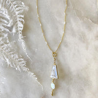 Moonstone Australian Opal Drop Necklace Necklace Robindira Unsworth