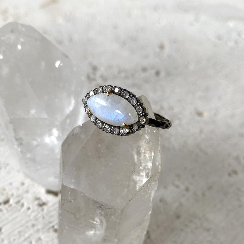 Moonstone Marquis Diamond Ring Ring Robindira Unsworth