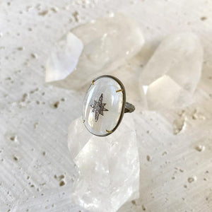 Moonstone Statement Diamond Star Ring Ring Robindira Unsworth