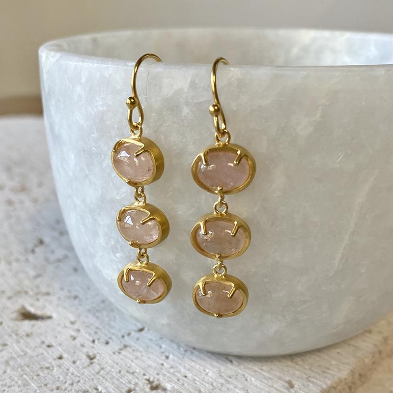 Morganite Drop Earrings Earrings Robindira Unsworth