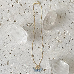 Copper Aquamarine Cluster Necklace