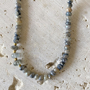 Shimmering Silverite Aquamarine Collar necklace Bracelet Robindira Unsworth