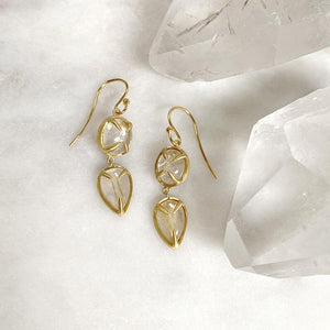 Golden Rutilated Quartz Drop Earrings Earrings Robindira Unsworth
