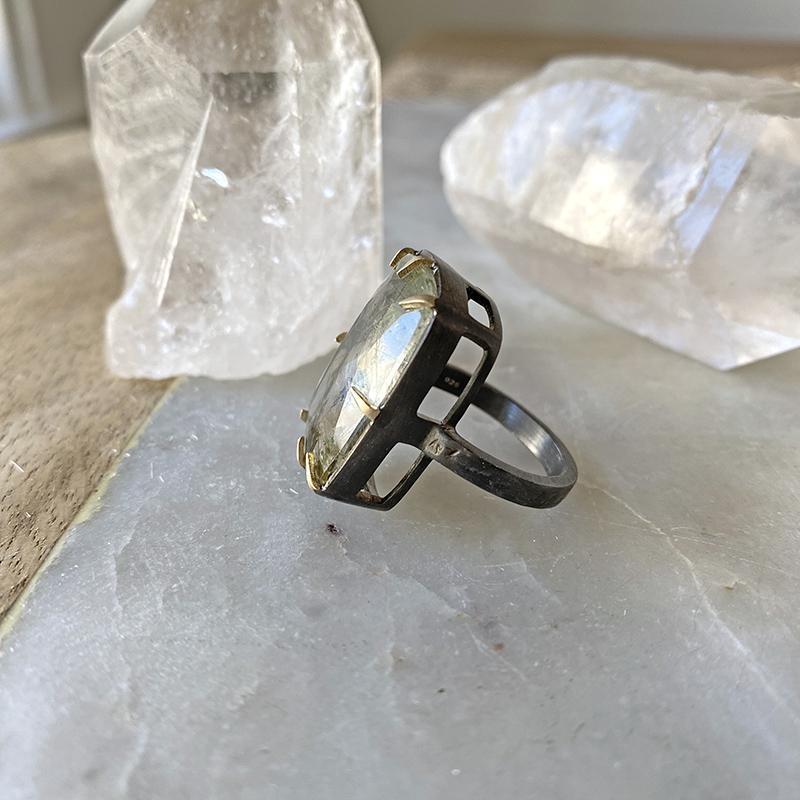 Moss Quartz Statement Claw Ring