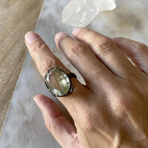 Moss Quartz Oval Multi Prong Ring