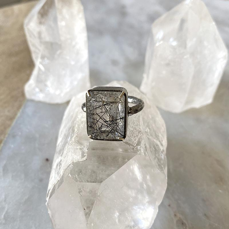 Black Rutilated Quartz Statement Ring