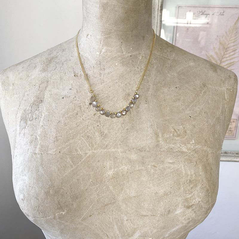 Delicate Grey Moonstone Collar Necklace