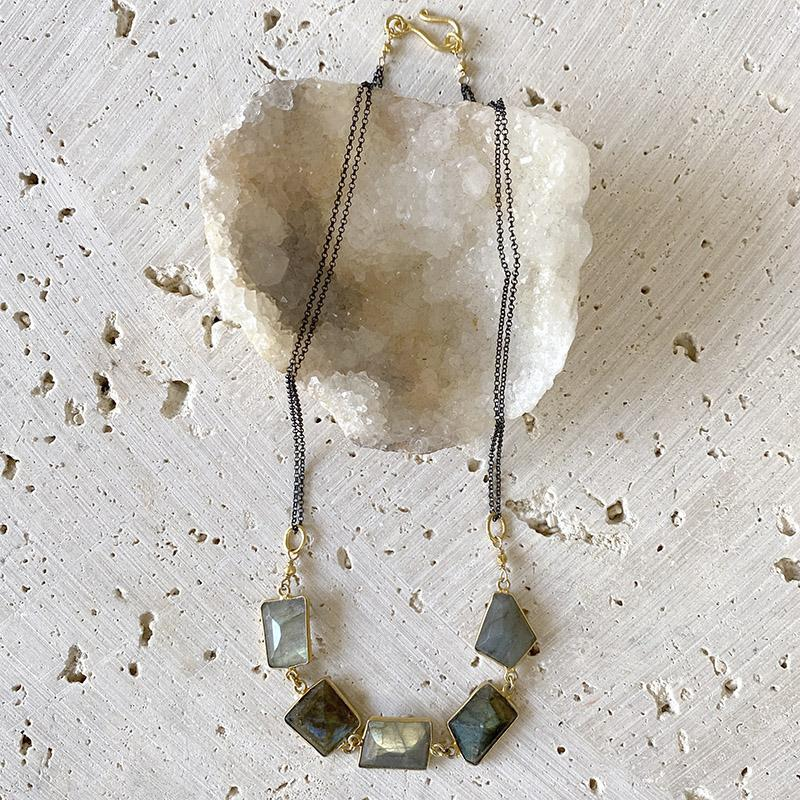 Oceanic Labradorite Collar Necklace Necklace Robindira Unsworth