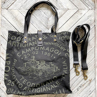 #NEW11 Campomaggi Black Genziana Canvas Bag BAG Campomaggi