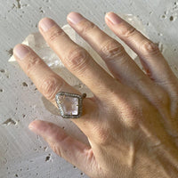 Rose Quartz Statement Diamond Ring
