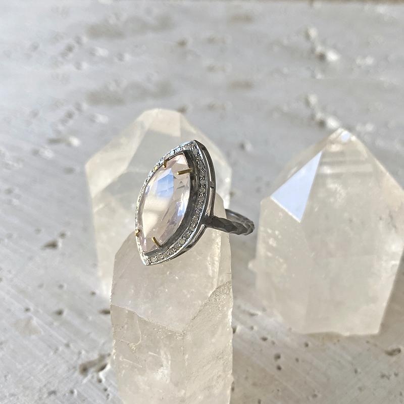Rose Quartz Diamond Marquis Ring
