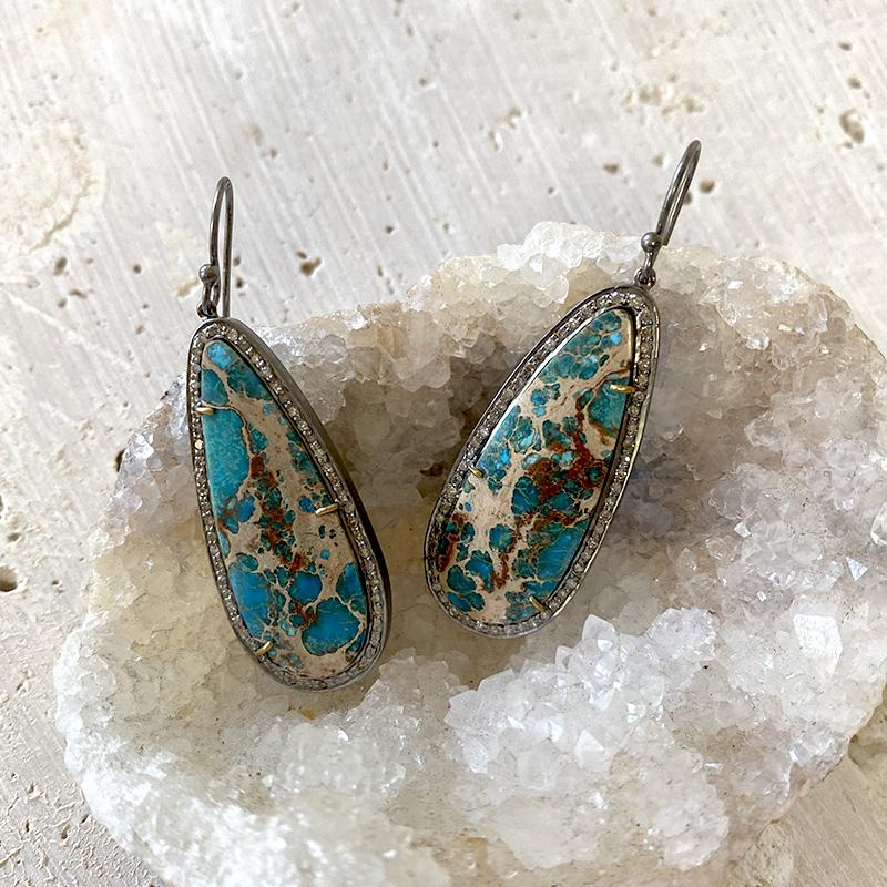 Opalized Wood Diamond Earrings Earrings Robindira Unsworth