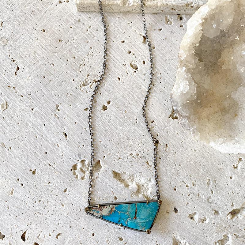 Opalized Wood Diamond Necklace Necklace Robindira Unsworth