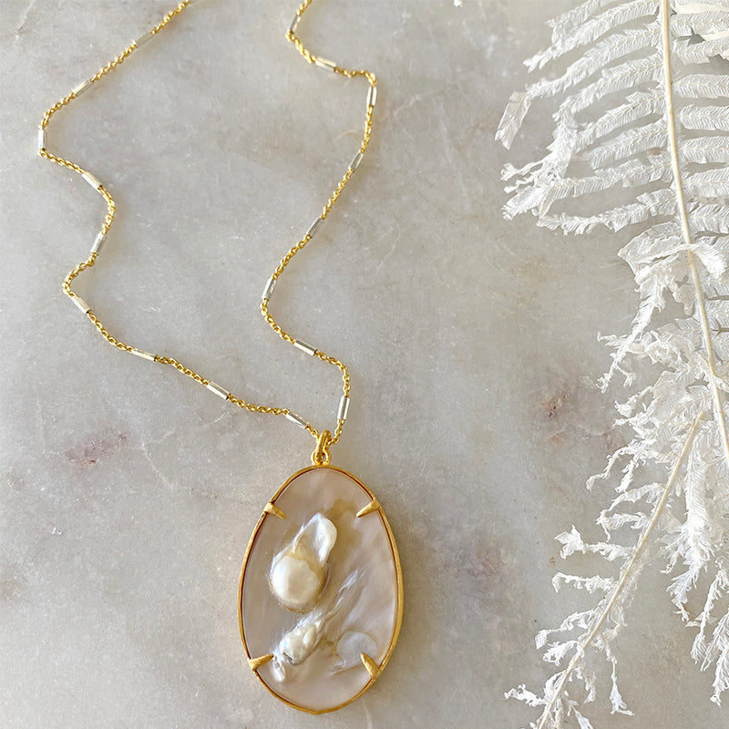 Mother Of Pearl Golden Pendant Necklace