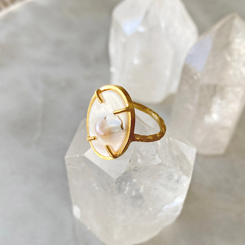 Mother Of Pearl Golden Ring