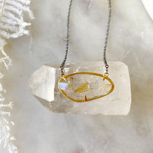 Rutilated Quartz Golden Necklace