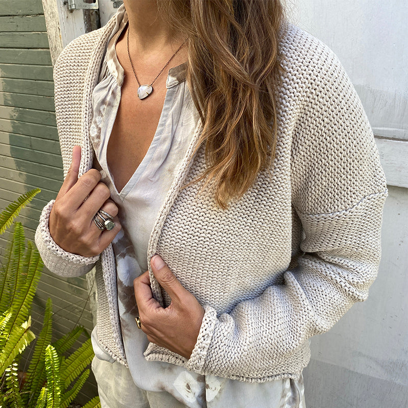 Velvet Textured Yarn Cardigan