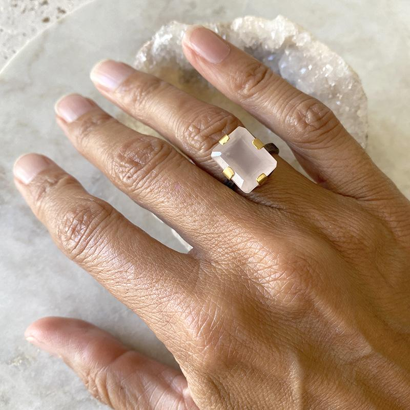 Rose Quartz Mixed Metal Ring Ring Robindira Unsworth