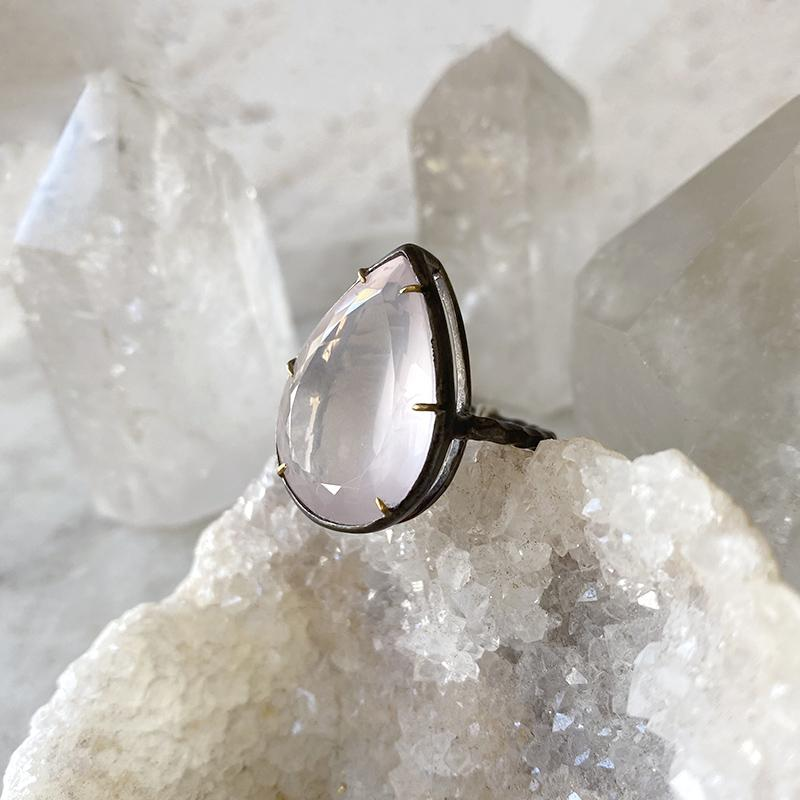 Rose Quartz Teardrop Ring Ring Robindira Unsworth