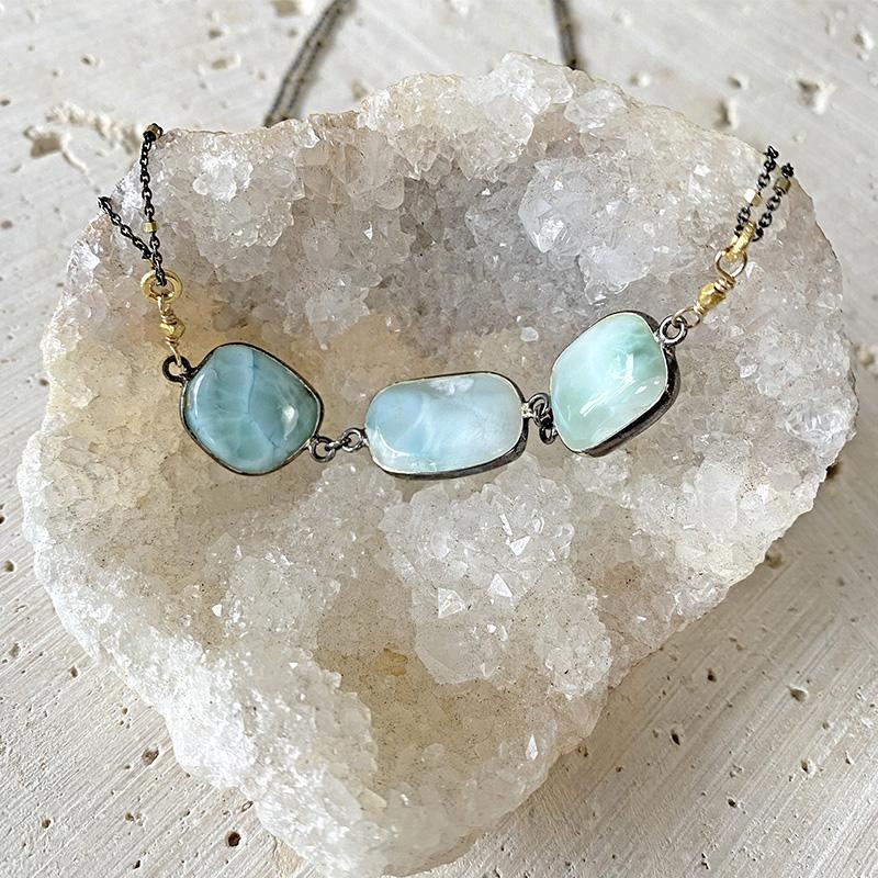 Shimmering Larimar Collar Necklace Necklace Robindira Unsworth