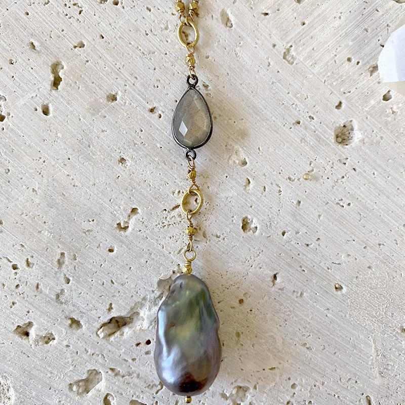 Silverite And Pearl Drop Necklace Necklace Robindira Unsworth