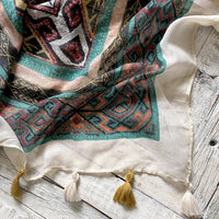 Subtle Luxury Printed Scarf With Tassels Clothing Subtle Luxury