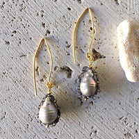 Teardrop Pearl Drop Earrings Earrings Robindira Unsworth