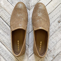 Trask Gold Metallic Suede Loafers Shoes Trask