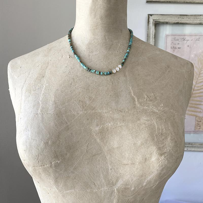 Turquoise And Moonstone Necklace Necklace Robindira Unsworth
