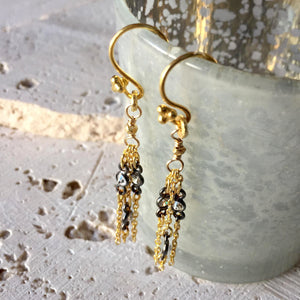 Two Tone Chandelier Earrings Earrings Robindira Unsworth