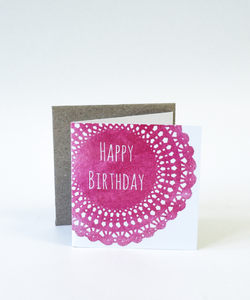 Birthday Gift Card Small - Happy Birthday Pink Doillie