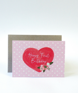 First Birthday Heart Card