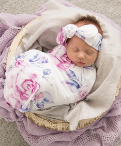 Lilac Skies Baby Jersey Wrap and Topknot Set