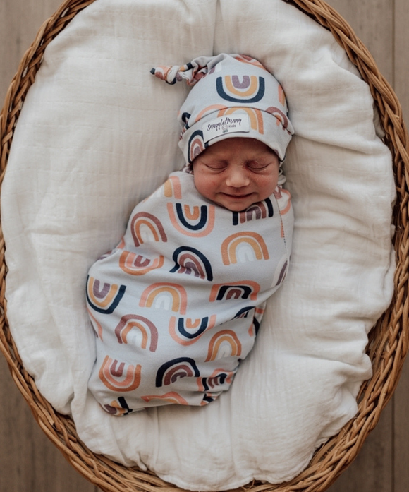 Sunset Rainbow Snuggle Swaddle and Beanie Set
