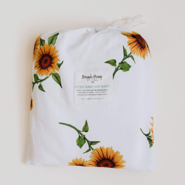 Snuggle Hunny Kids Fitted Cot Sheet Sunflower
