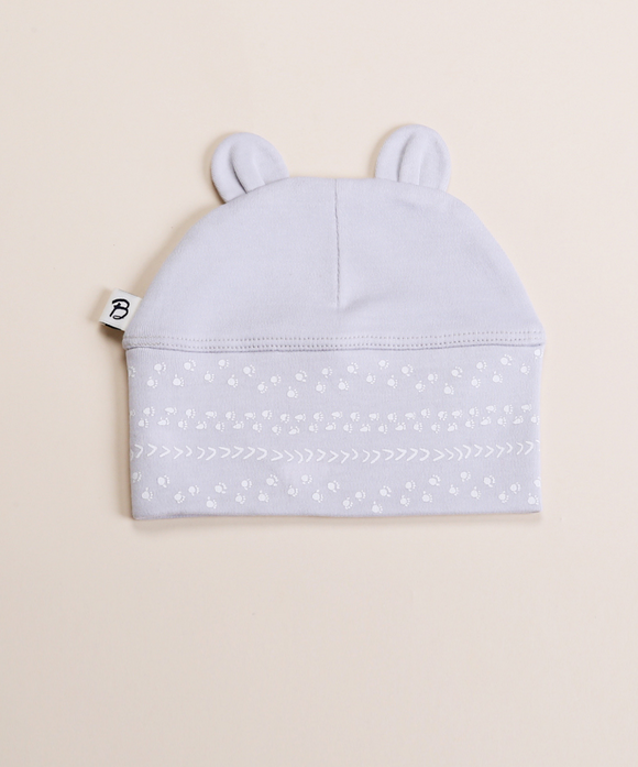 Bibalicious Bear Ear Beanie Grey Footprints
