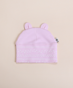 Bibalicious Bear Ear Beanie Pink Footprints