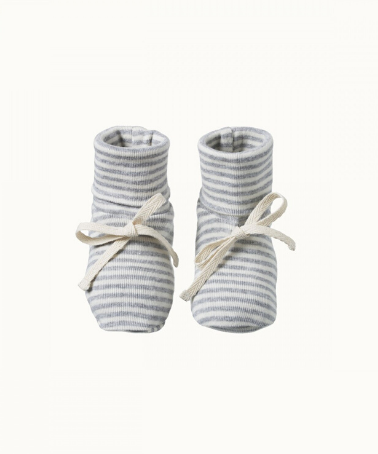 Grey Marle Stripe Cotton Booties
