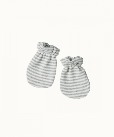 Grey Marle Stripe Cotton Newborn Mittens