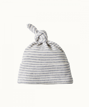 Nature Baby Cotton Knotted Beanie Grey Marle Stripe